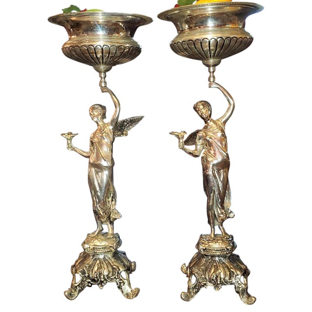Chromed Angel Centerpieces - a Pair For Sale - Image 13 of 13