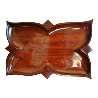 1950's Hand Carved Haitian Red Mahogany Tray