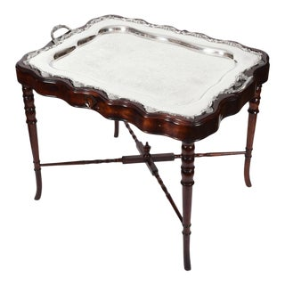 Vintage Mahogany Base Frame Silver Plate Tray Table For Sale
