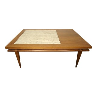 John Widdicomb Mid-Century Coffee Table With Marble Insert For Sale