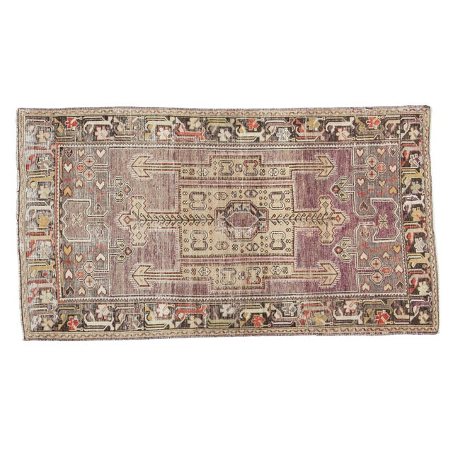 "Vintage Distressed Oushak Runner - 3'8"" X 6'10"" - Image 1 of 10"