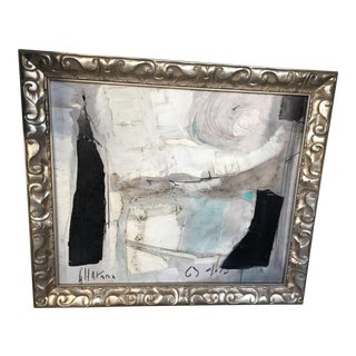 Framed Black & White Abstract Painting
