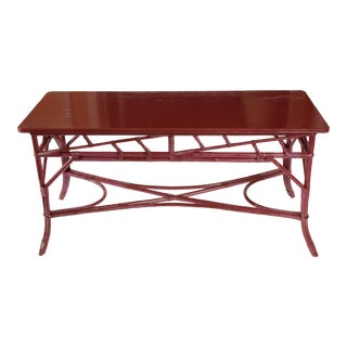 Magenta Painted Rattan Console For Sale