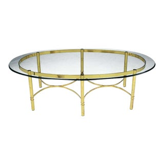 Brass Race Track Oval Coffee Table by LaBarge For Sale