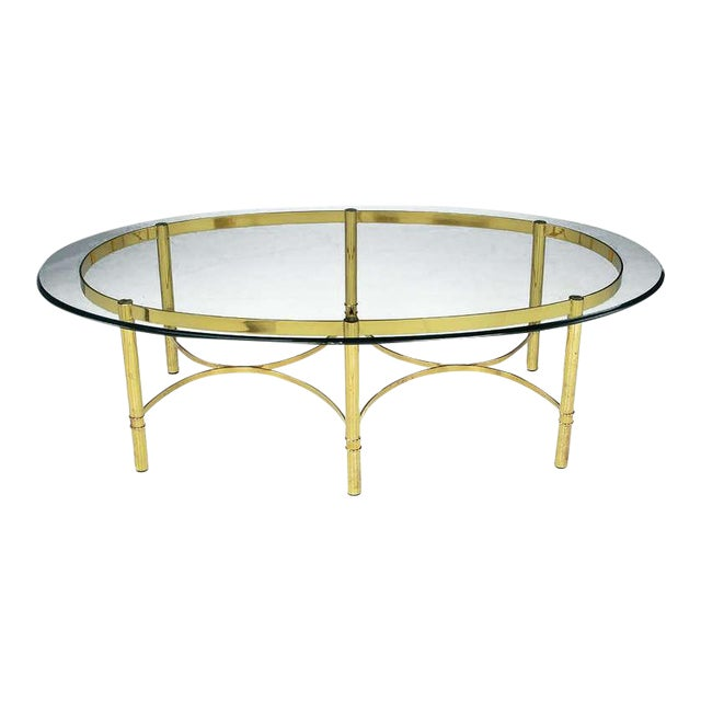 Sophisticated Brass Race Track Oval Coffee Table By