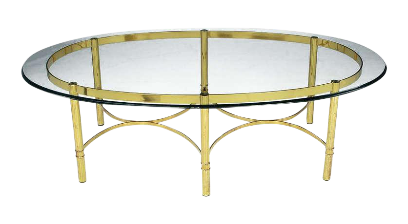 Brass Race Track Oval Coffee Table By LaBarge   Image 1 Of 7