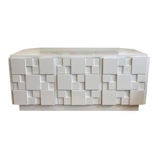 Lane Furniture White Lacquered Brutalist 9-Drawer Credenza For Sale