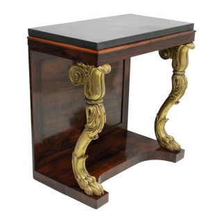 A Regency Rosewood & Gilt Wood Console Table For Sale