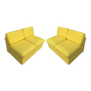 Thayer Coggin Milo Baughman Yellow Slipper Sofas - a Pair For Sale