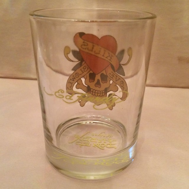 """2000 - 2009 Ed Hardy """"Love Kills Slowly"""" Lo-Ball Glasses - Set of 4 For Sale - Image 5 of 11"""