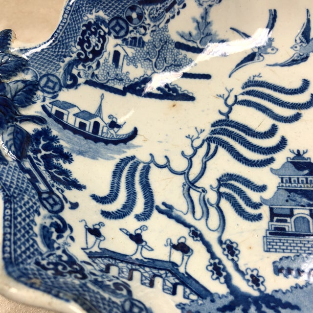 Mid 19th Century 1800's Antique Rogers Blue Willow Serving Dish For Sale - Image 5 of 8