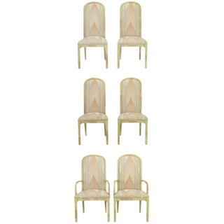 Six Goatskin Lacquer Dining Chairs by Century For Sale