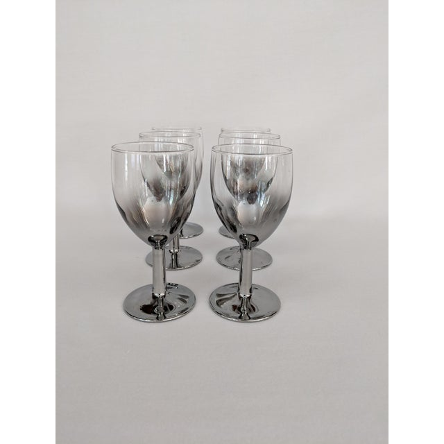 Mid-Century Modern Lusterware Silver Ombre Glasses - Set of 6 For Sale - Image 3 of 13