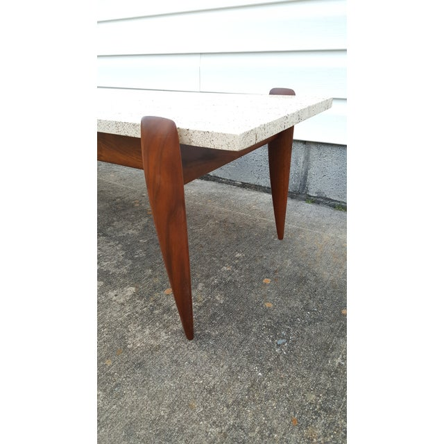 1950s 1950s Mid-Century Modern Gio Ponti for Singer & Sons Travertine Coffee Table For Sale - Image 5 of 13
