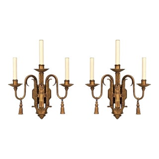 English Georgian Style Painted Iron Three-Arm Wall Sconces - a Pair For Sale