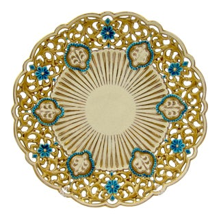 Late 19th Century Zsolnay Pecs Reticulated Polychrome Plate For Sale