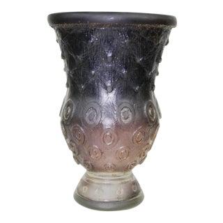 1995 Daum Style Acid Cut Purple Art Glass Vase For Sale