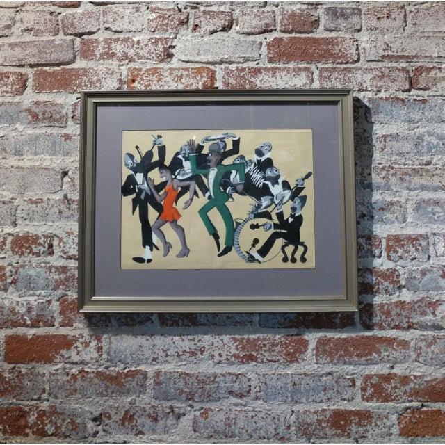 Lucille Miller -African American Dancing Jazz-1930 - Painting Guache on Paper frame size 20 x 24 paper size 17 x 21""