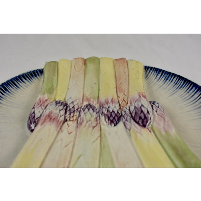 Ceramic Pexonne French Faïence Majolica Hand-Painted Asparagus Plate For Sale - Image 7 of 11