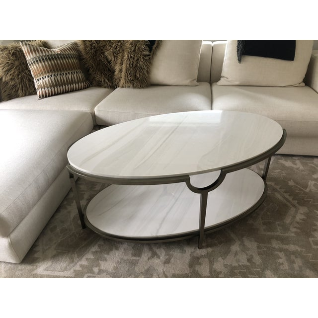 Contemporary Oval Faux Marble and Steel Two Tier Coffee Table For Sale - Image 11 of 11