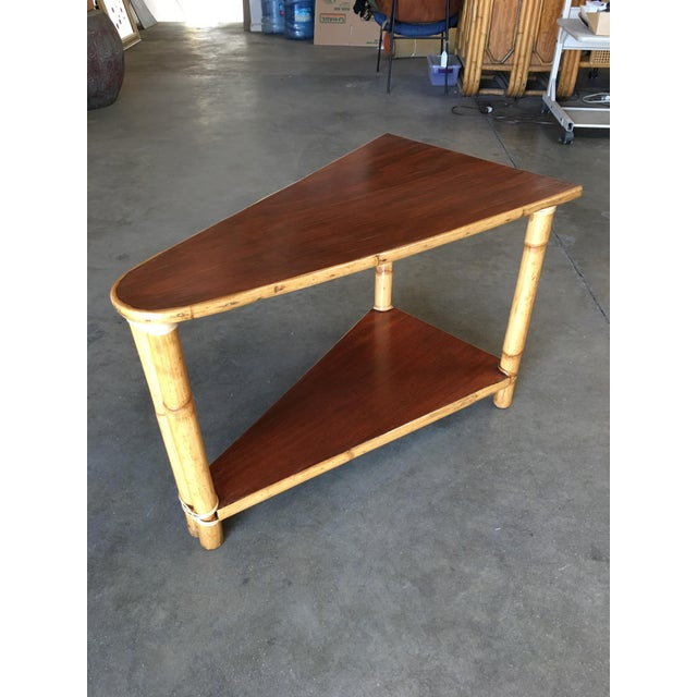 Restored Two-Strand Rattan Wedge Drinks Table With Two-Tier Mahogany Tops For Sale In Los Angeles - Image 6 of 8