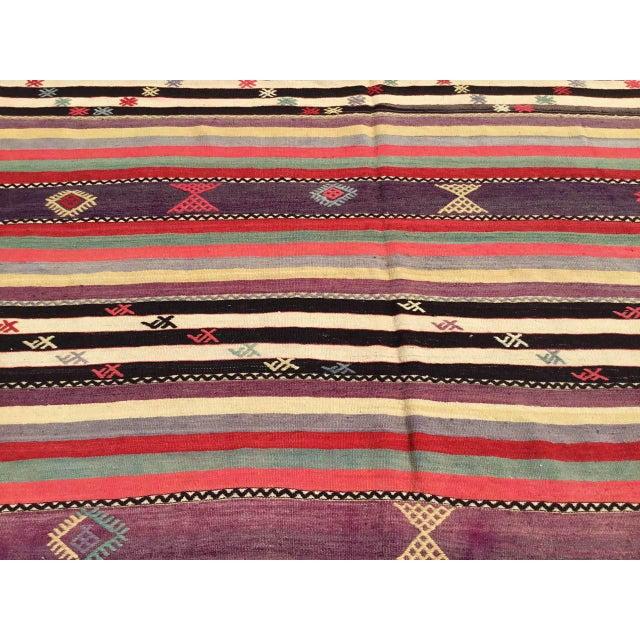 Vintage Striped Turkish Kilim Rug For Sale - Image 9 of 11
