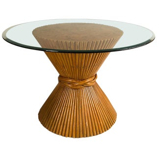 Vintage McGuire Bamboo Pedestal Table For Sale
