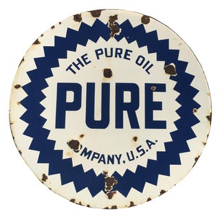 Mid 20th Century Pure Oil Porcelain Enamel Double-Sided Sign For Sale