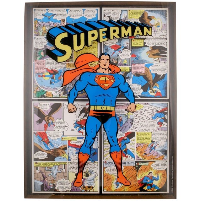 'Superman C.1974 Shadowbox in Chrome Frame' For Sale