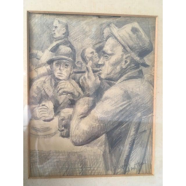 "Vintage Original ""Boxer, Portrait, Card Game"" Drawings by David Fredenthal - Set of 3 For Sale - Image 6 of 11"