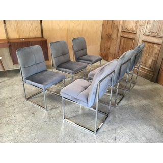 Vintage Mid-Century Milo Baughman Style Chrome Dining Chairs - Set of 6 Preview