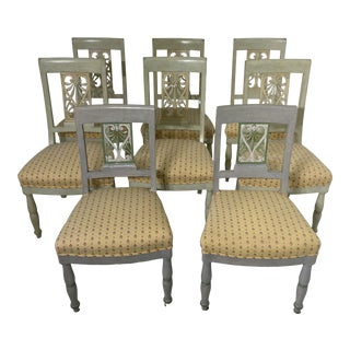 Late 19th Century Painted Shield Back Chairs - Set of 8 For Sale