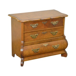 Baker Walnut Bombe Continental Style 3 Drawer Commode Chest Nightstand For Sale