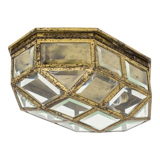 Large Art Deco Brass and Faceted Glass Flush Mount, 1920s For Sale