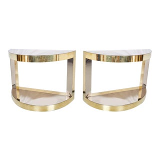 1970s Mid-Century Modern Sandro Petti Brass and Mirror Demilune Consoles - a Pair