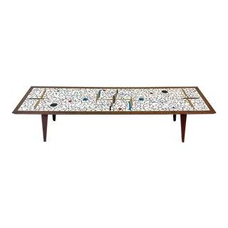 Elegant Extra Long Sleek Tiled Mosaic & Walnut Midcentury Modern Coffee Table For Sale