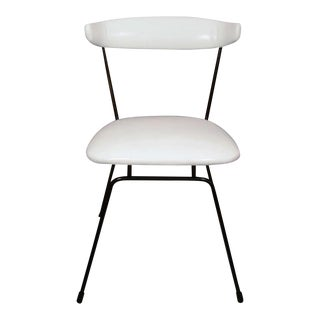 Clifford Pascoe Iron Dining Chair in White Leather