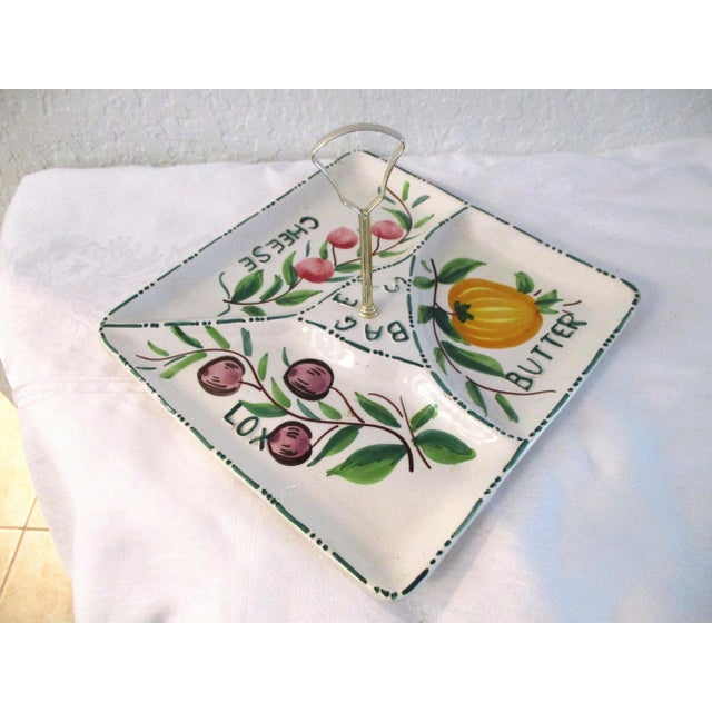 Charming Italian pottery divided bagel platter. Dish is divided into three sections each labeled butter, cheese and lox....