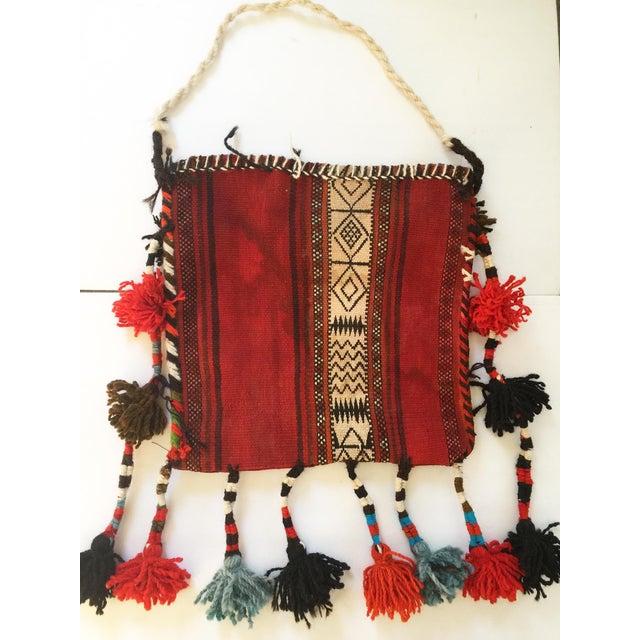 Tribal Vintage Ethnic Tasseled Woven Bag Wall Hanging For Sale - Image 3 of 7