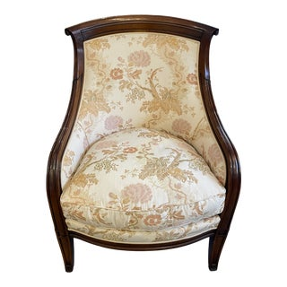 2000s Mahogany Floral Upholstered Bergere Style Chair For Sale