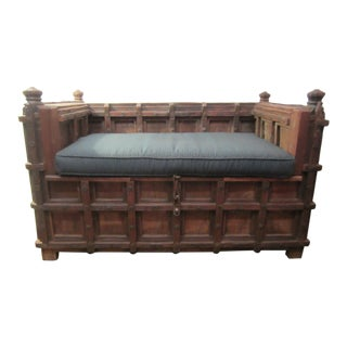 Antique Wood Carved Bench & Trunk