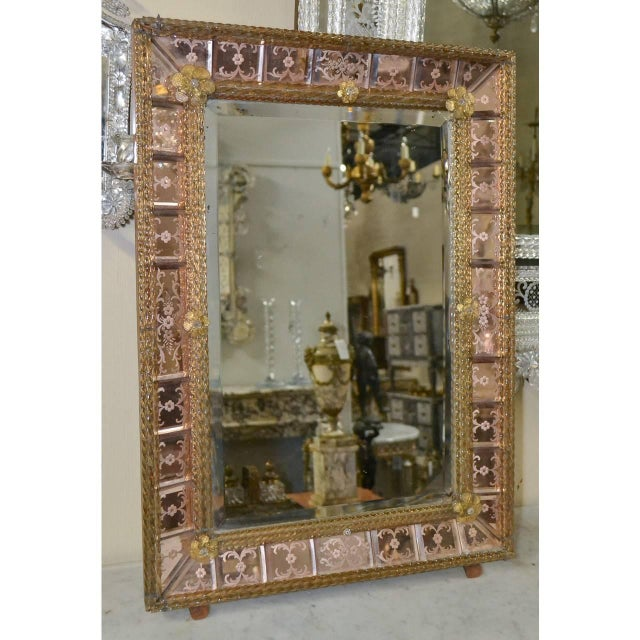 Antique Pink Venetian Etched Mirror For Sale In Dallas - Image 6 of 7