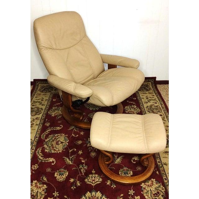 ekornes stressless sand paloma leather chair recliner ottoman