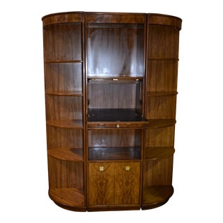 1960s Art Deco Drexel Three Piece Lighted Wall Unit For Sale