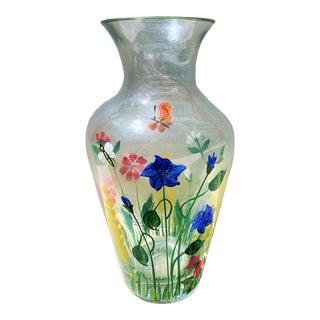 Vintage Hand Painted Wild Flower Floral Transparent Floral Crystal Vase For Sale