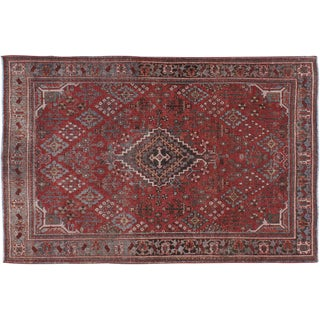 "Vintage Persian Josheghan Distressed Rug - 4'4"" X 6'8"""