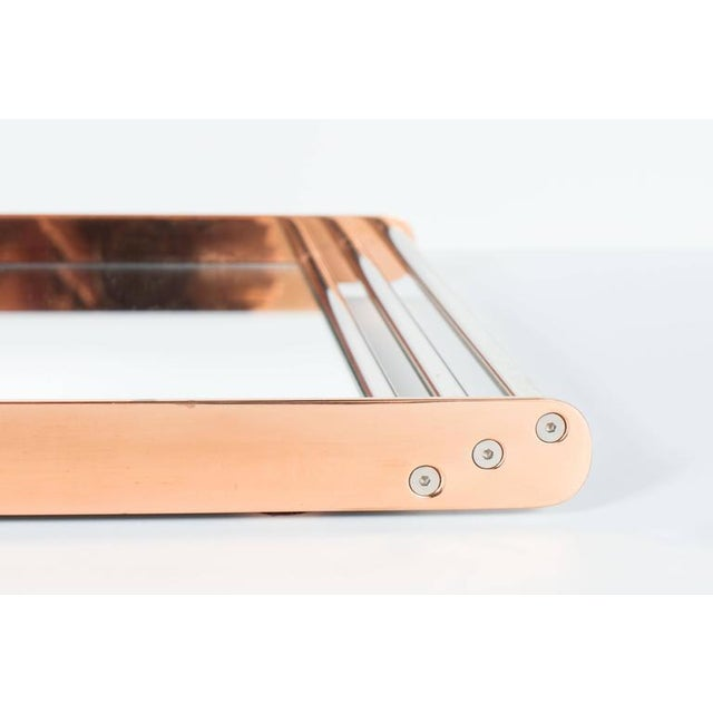 1930s Art Deco Machine Age Skyscraper Style Mirrored Tray with Copper and Chrome For Sale - Image 5 of 11