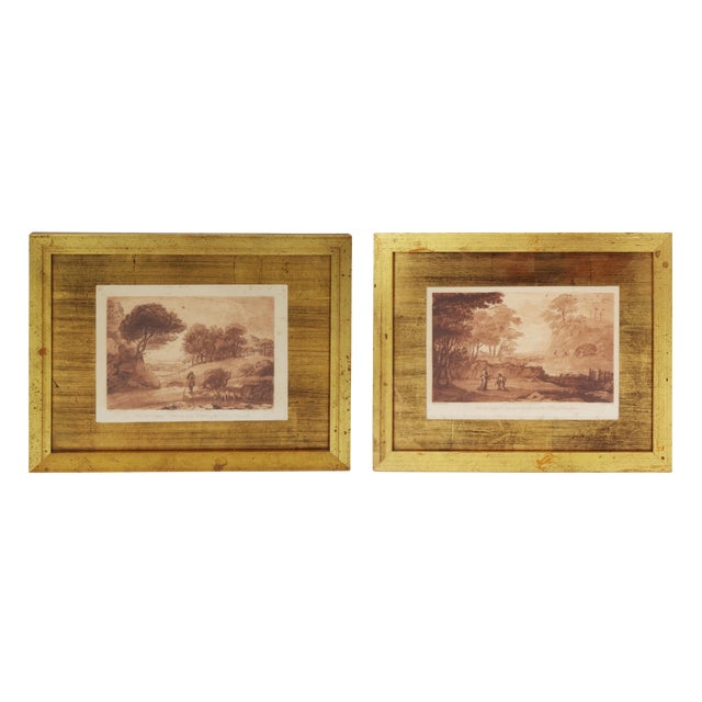 Sepia Mezzotint Prints by Claude Lorraine - a Pair For Sale