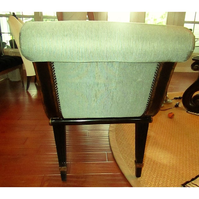 "Marge Carson Marge Carson ""Iona"" Seafoam Upholstered Bench For Sale - Image 4 of 6"