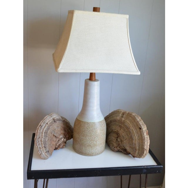 Martz Ceramic Table Lamp, Mid Century, With Walnut Height Extender and Finial For Sale - Image 10 of 12